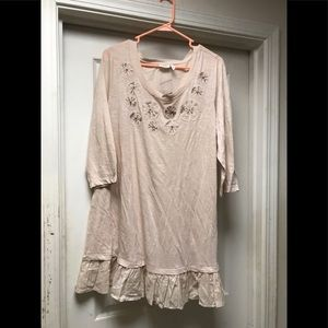 NWT logo taupe beaded long ruffle top size large